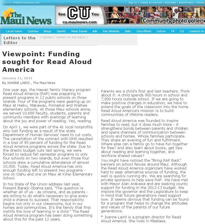 Read Aloud America - Maui News